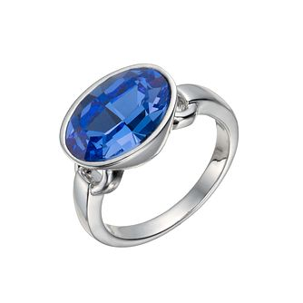 Rhodium-Plated Blue Oval Crystal Ring Size O - Product number 1519905