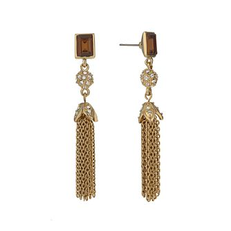 Gold-Plated Smokey Crystal Tassel Drop Earrings - Product number 1520237