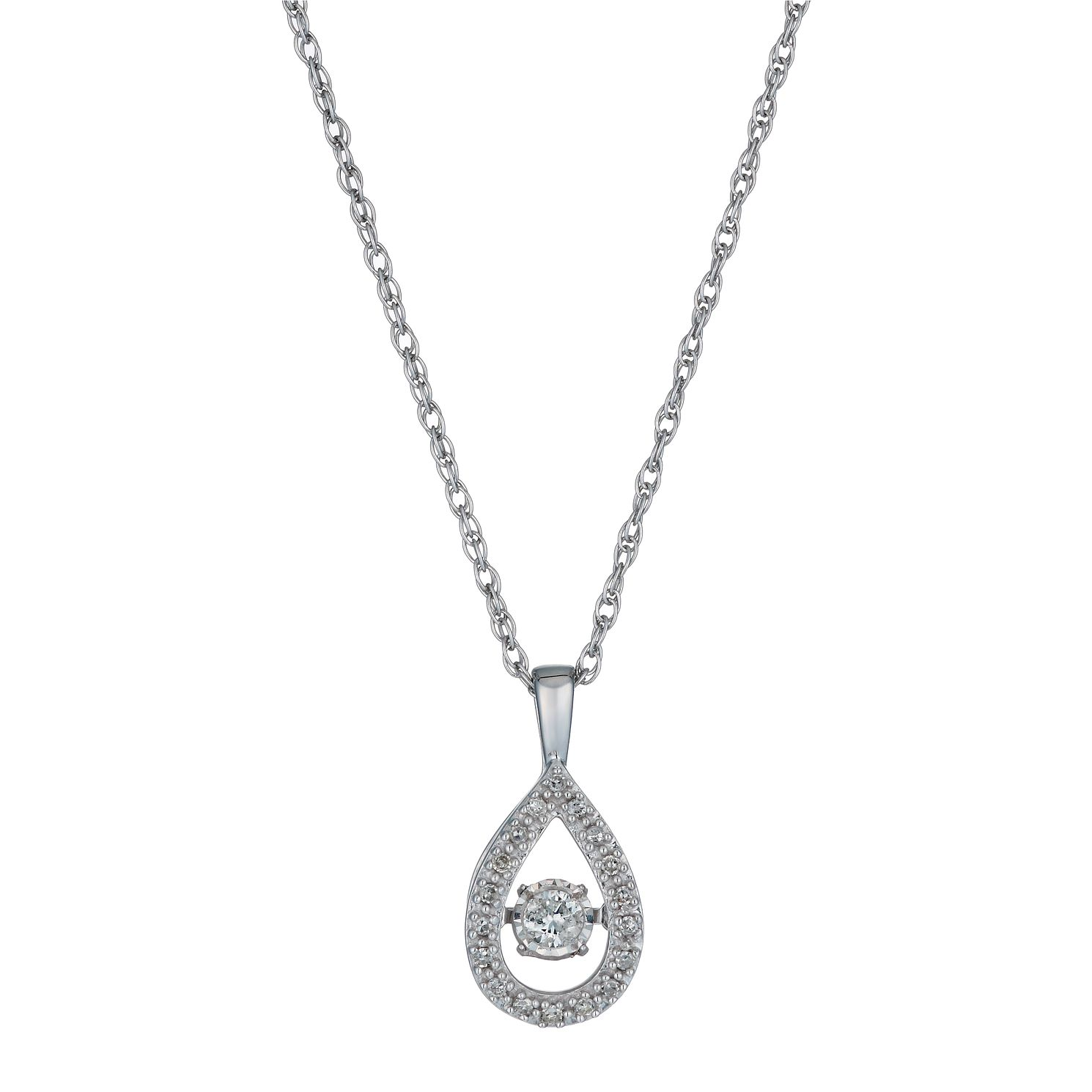 Diamonds In Rhythm Silver 15 Point Diamond Pear Drop Pendant - Product number 1526200