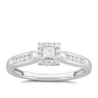 9ct White Gold 0.25ct Diamond Princess Halo Ring - Product number 1531905