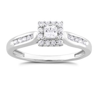 9ct White Gold 0.33ct Diamond Princess Halo Ring - Product number 1532030