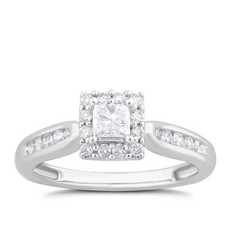 9ct White Gold 0.50ct Diamond Princess Halo Ring - Product number 1535846