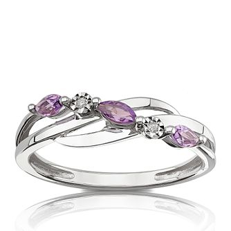 9ct White Gold Diamond & Marquise Amethyst Eternity Ring - Product number 1539213