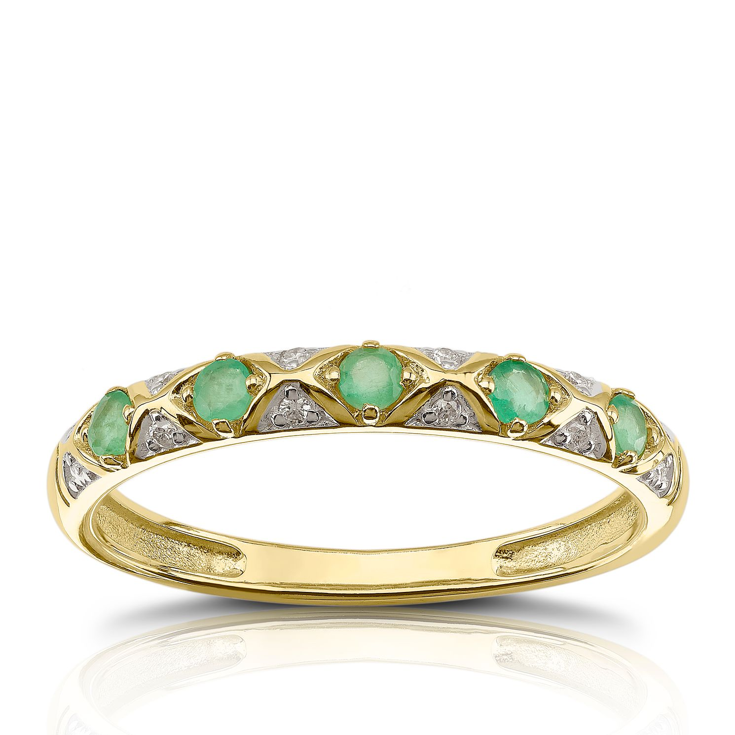 9ct Yellow Gold Diamond & Emerald Eternity Ring - Product number 1539523