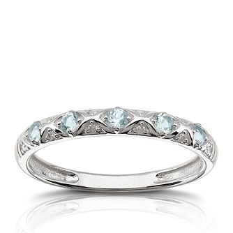 9ct White Gold Diamond & Aquamarine Eternity Ring - Product number 1539655