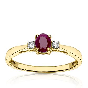 9ct Yellow Gold Diamond & Oval Ruby Ring - Product number 1540122