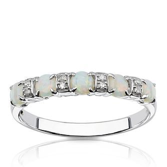 9ct White Gold Diamond & Opal Eternity Ring - Product number 1540408