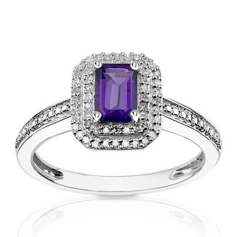 9ct White Gold Diamond & Octagon Amethyst Double Halo Ring - Product number 1541447