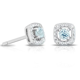 925 Silver Diamond & Aquamarine Cushion Halo Stud Earrings - Product number 1541722