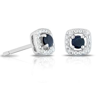 925 Silver Diamond & Black Sapphire Halo Stud Earrings - Product number 1541730