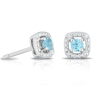 925 Silver Diamond & Topaz Cushion Halo Stud Earrings - Product number 1541749