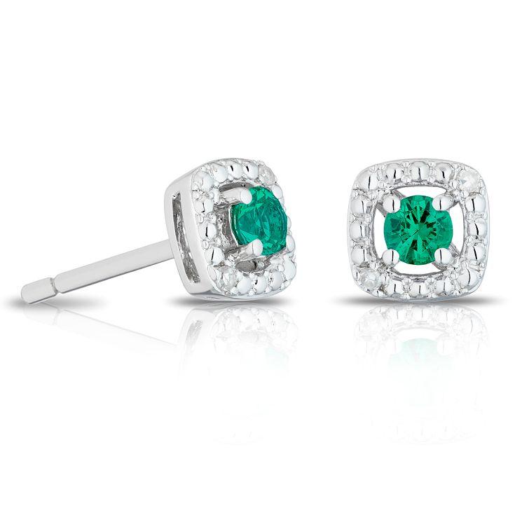 Silver Diamond & Created Emerald Cushion Halo Earrings