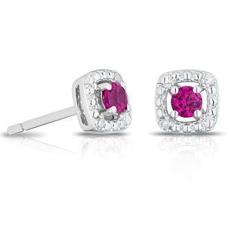 925 Silver Diamond & Created Ruby Cushion Halo Stud Earrings - Product number 1541765