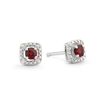 925 Silver Diamond & Garnet Cushion Halo Stud Earrings - Product number 1541773