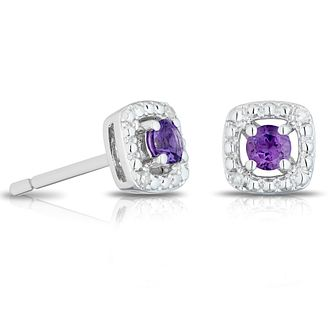 925 Silver Diamond & Amethyst Cushion Halo Stud Earrings - Product number 1541781