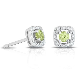 925 Silver Diamond & Peridot Cushion Halo Stud Earrings - Product number 1541803