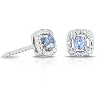 925 Silver Diamond & Tanzanite Cushion Halo Stud Earrings - Product number 1541811