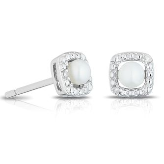 925 Silver Diamond & Pearl Cushion Halo Stud Earrings - Product number 1541838