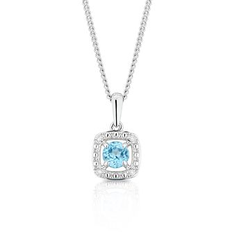 925 Silver Diamond & Topaz Cushion Halo Pendant - Product number 1541870