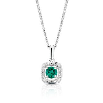 925 Silver Diamond & Created Emerald Cushion Halo Pendant - Product number 1541889