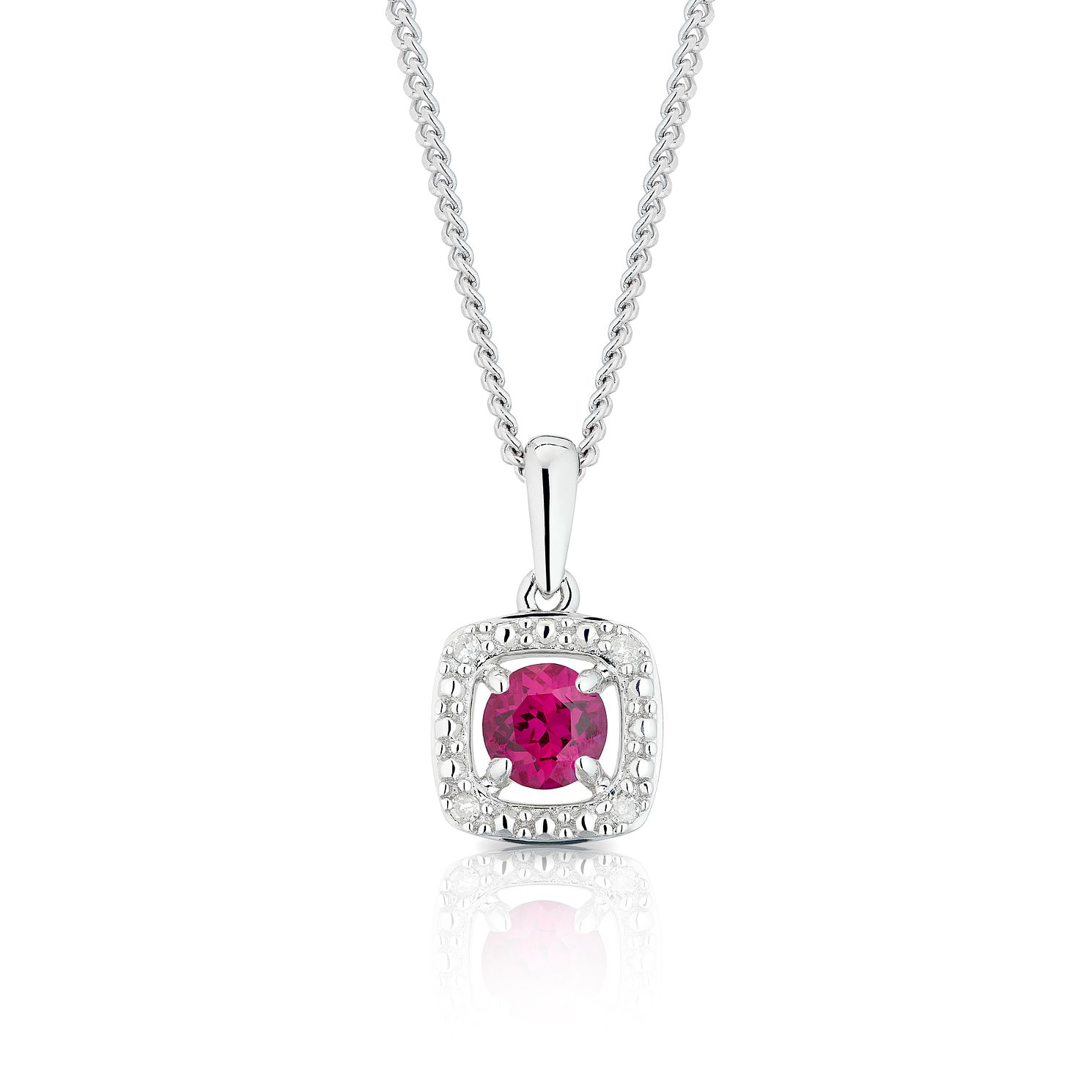 925 Silver Diamond & Created Ruby Cushion Halo Pendant - Product number 1541897