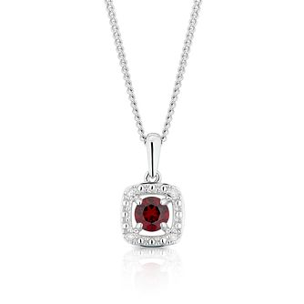 925 Silver Diamond & Garnet Cushion Halo Pendant - Product number 1541900