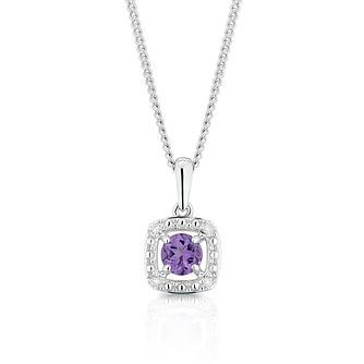 925 Silver Diamond & Amethyst Cushion Halo Pendant - Product number 1541919