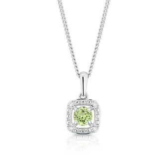 925 Silver Diamond & Peridot Cushion Halo Pendant - Product number 1541927