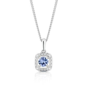 925 Silver Diamond & Tanzanite Cushion Halo Pendant - Product number 1541935