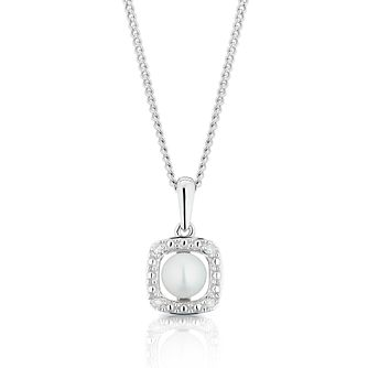 925 Silver Diamond & Pearl Cushion Halo Pendant - Product number 1541943
