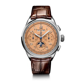 Breitling Premier B25 Datora Men's Brown Leather Strap Watch - Product number 1548492