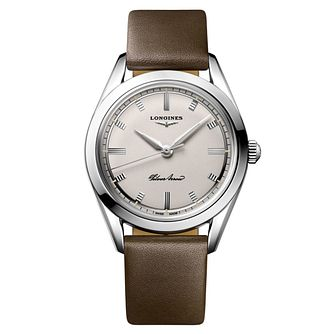 Longines Heritage Silver Arrow Brown Leather Strap Watch - Product number 1552538