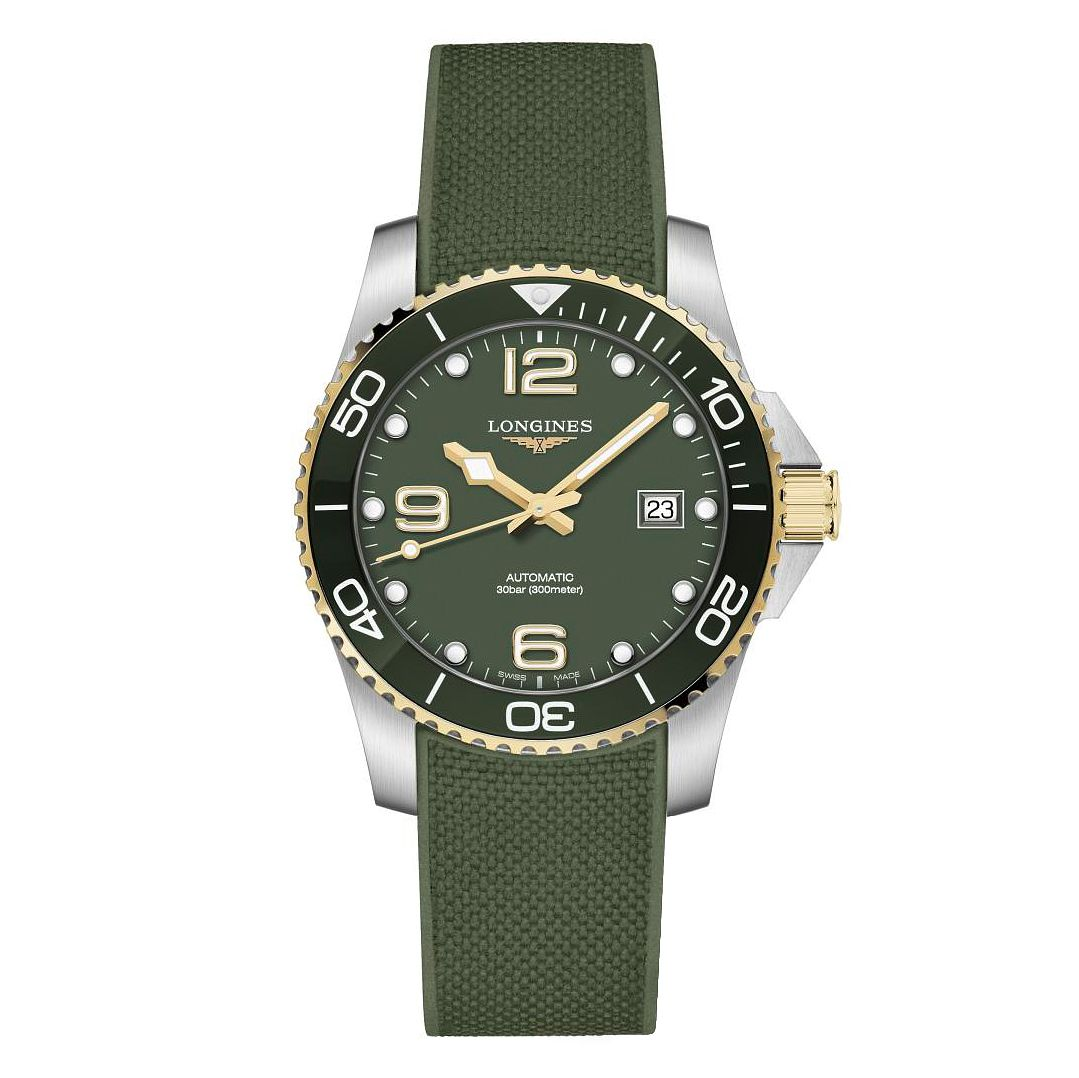 Longines HydroConquest Men's Green Rubber Strap Watch - Product number 1552570