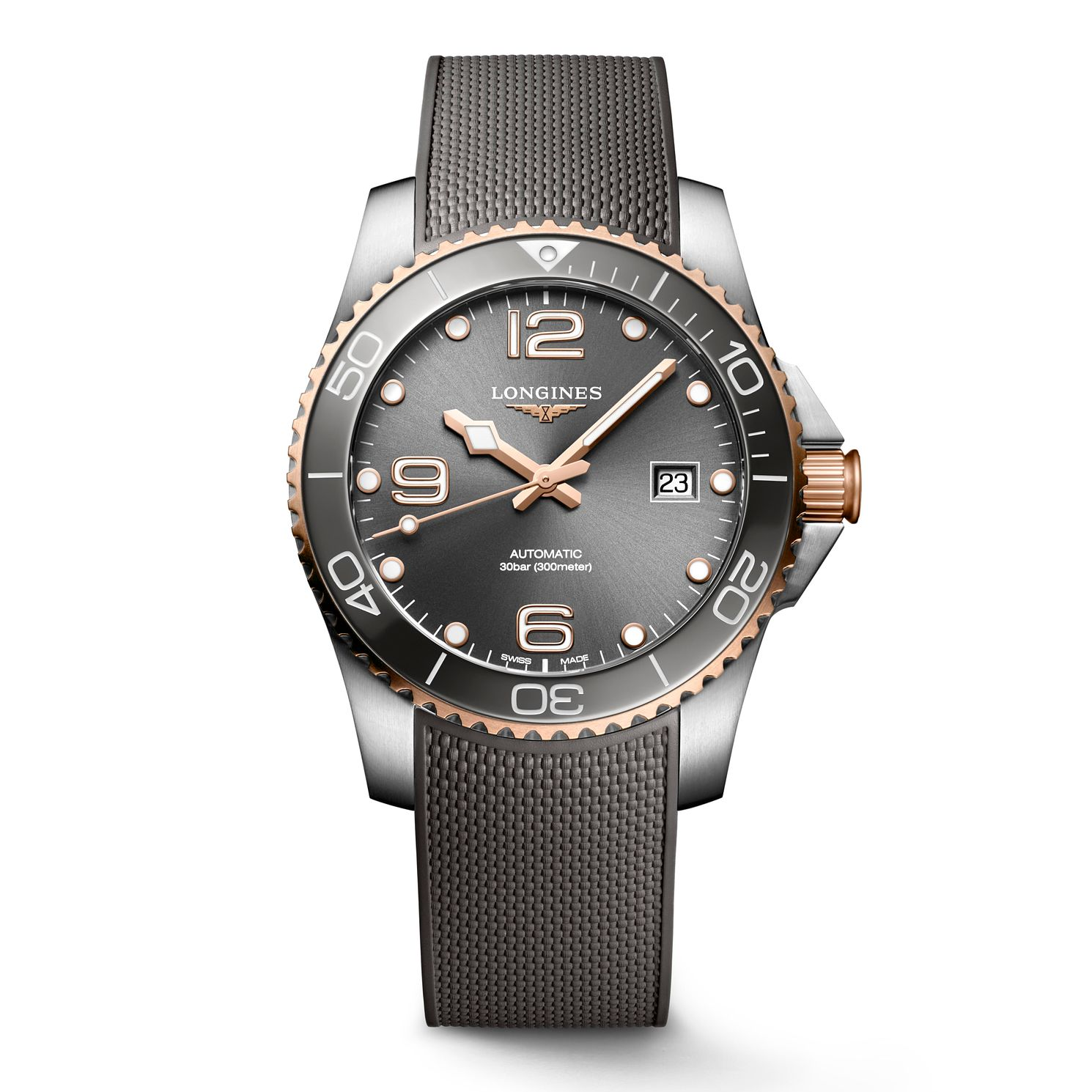 Longines HydroConquest Men's Grey Rubber Strap Watch - Product number 1552635