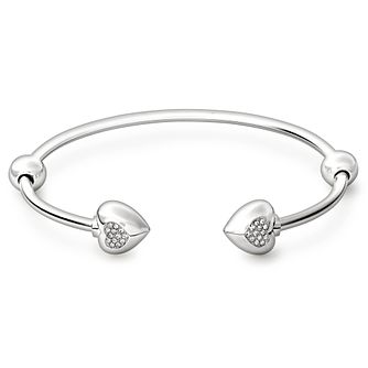 Chamilia Sterling Silver Pave Crystal Heart 7.9in Bangle - Product number 1600281