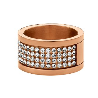 Dyrberg Kern Rose Gold-Plated Crystal Ring M-L - Product number 1604368