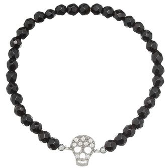 Gaia Dreams Silver Stone Set Skull Onyx Bead Bracelet - Product number 1637568