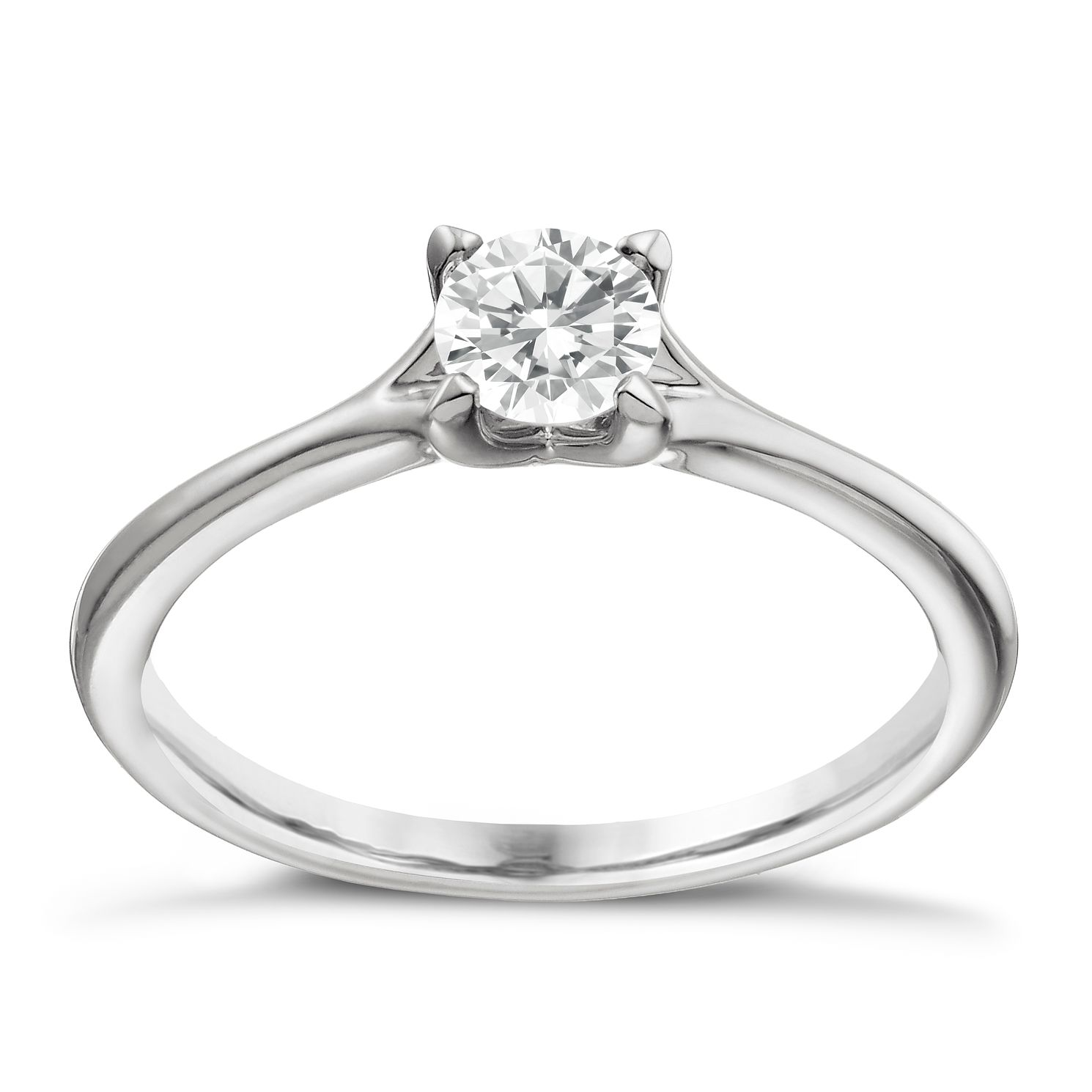 Platinum 2/5ct Diamond Solitaire 4 Claw Ring - Product number 1641301