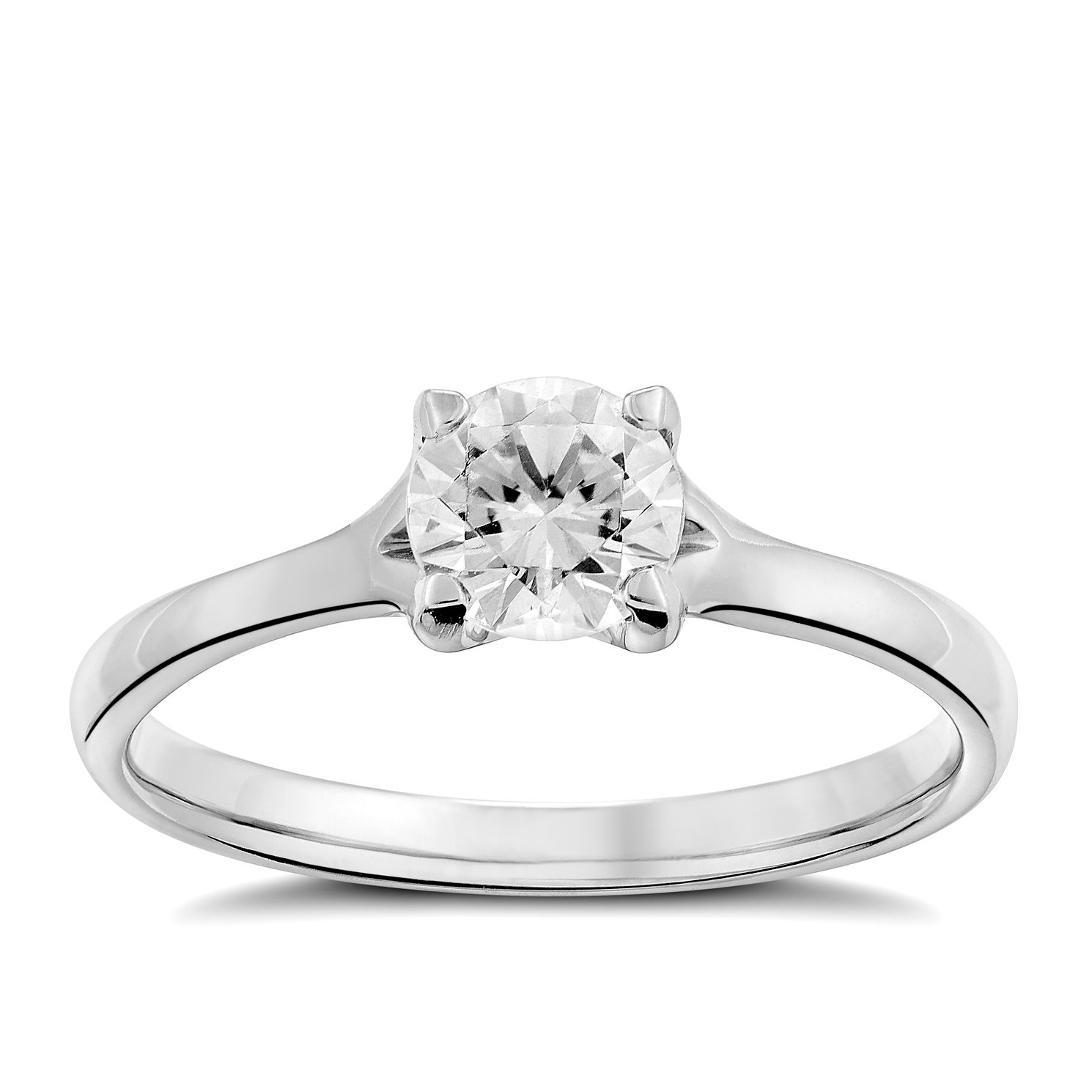 Platinum 0.66ct Diamond Solitaire 4 Claw Ring - Product number 1641565
