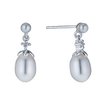 Sterling Silver Oval Cultured Freshwater Pearl Drop Earrings - Product number 1641832