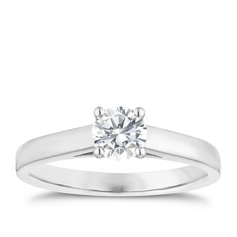 18ct White Gold 1/2ct Diamond Solitaire 4 Claw Ring - Product number 1642979