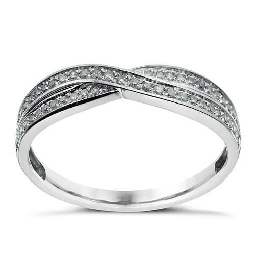 9ct white gold crossover 15 point diamond wedding ring - Product number 1644424