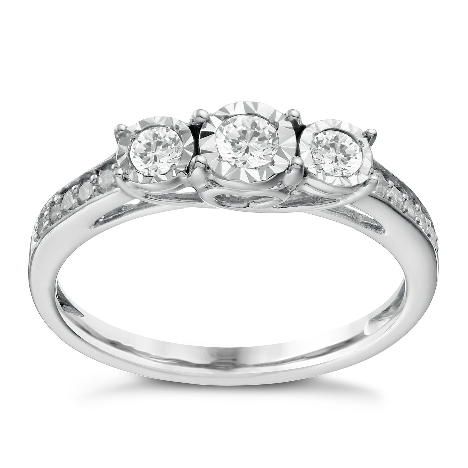 9ct White Gold 0.33ct Total Diamond 3 Stone Illusion Ring - Product number 1646338