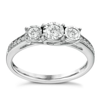 9ct White Gold 1/3ct Diamond 3 Stone Illusion Set Ring - Product number 1646338