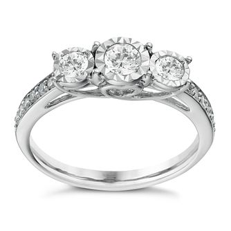 9ct White Gold 1/2ct Diamond 3 Stone Illusion Set Ring - Product number 1646451