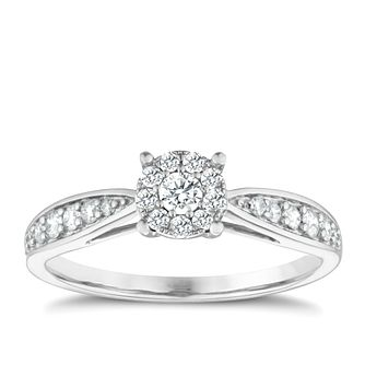 9ct white gold 1/3ct diamond halo cluster ring - Product number 1646885