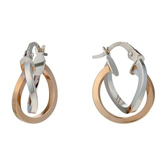 9ct White & Rose Gold Double Row 10mm Hoop Earrings - Product number 1654799