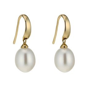 9ct White Gold Cultured Freshwater Pearl Hook Drop Earrings - Product number 6637183