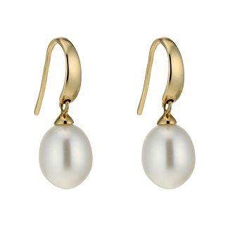 9ct Gold Cultured Freshwater Pearl Drop Hook Earrings - Product number 1654845