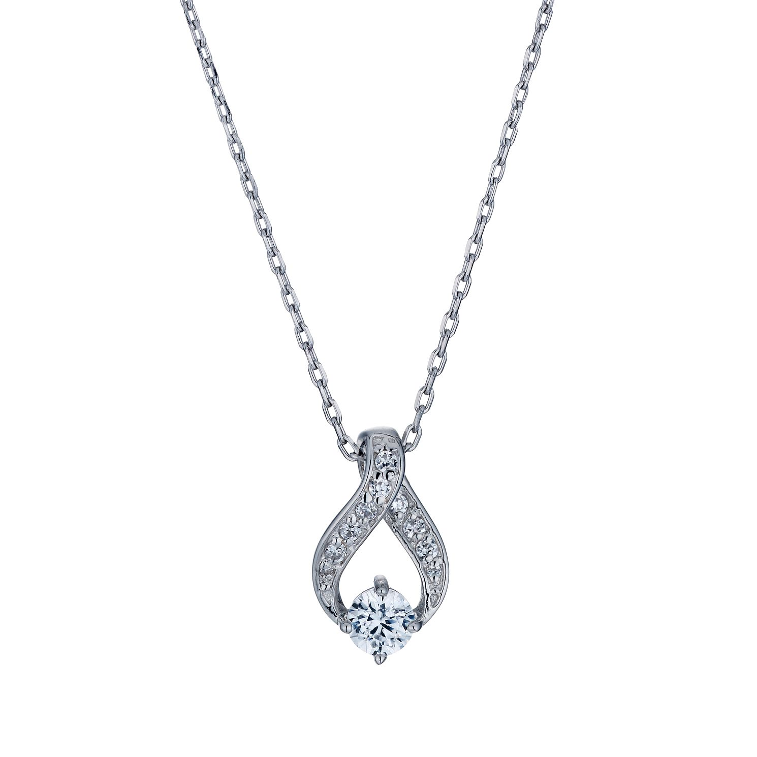 Sterling Silver Cubic Zirconia Ribbon Pendant - Product number 1661078